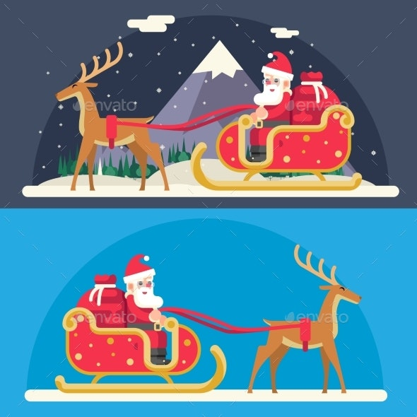 Santa Claus Sleigh Reindeer Gifts Winter Snow - Seasons/Holidays Conceptual