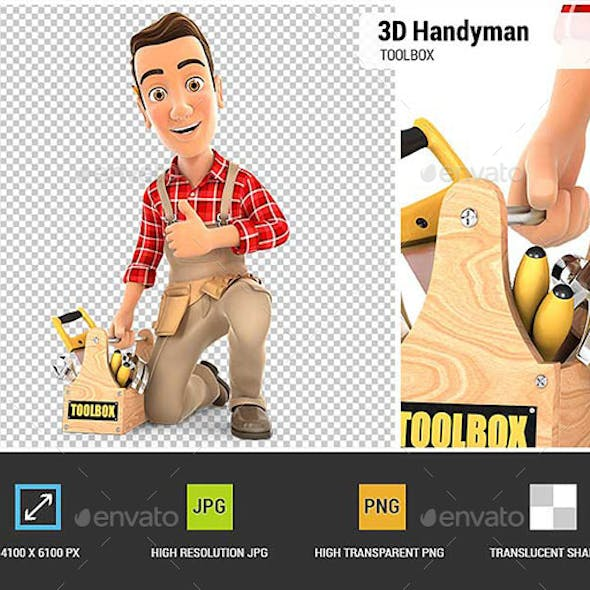 3D Handyman with Toolbox and Thumb Up