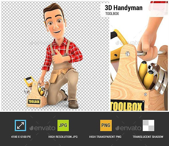 3D Handyman with Toolbox and Thumb Up - Characters 3D Renders