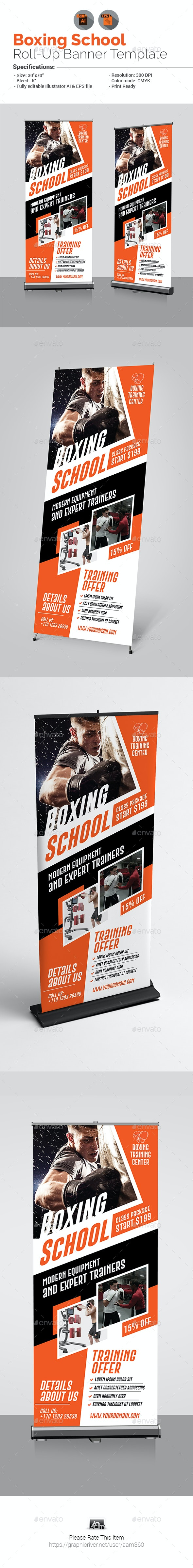 Boxing School Roll-Up Banner - Signage Print Templates