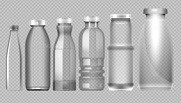 Vector Set of Transparent Glass Jars - Man-made Objects Objects