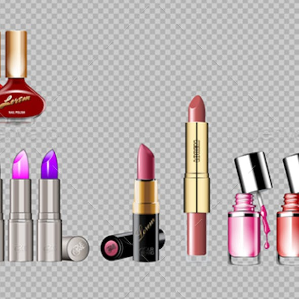 Digital Vector Silver Container and Colored Glamorous Lipsticks