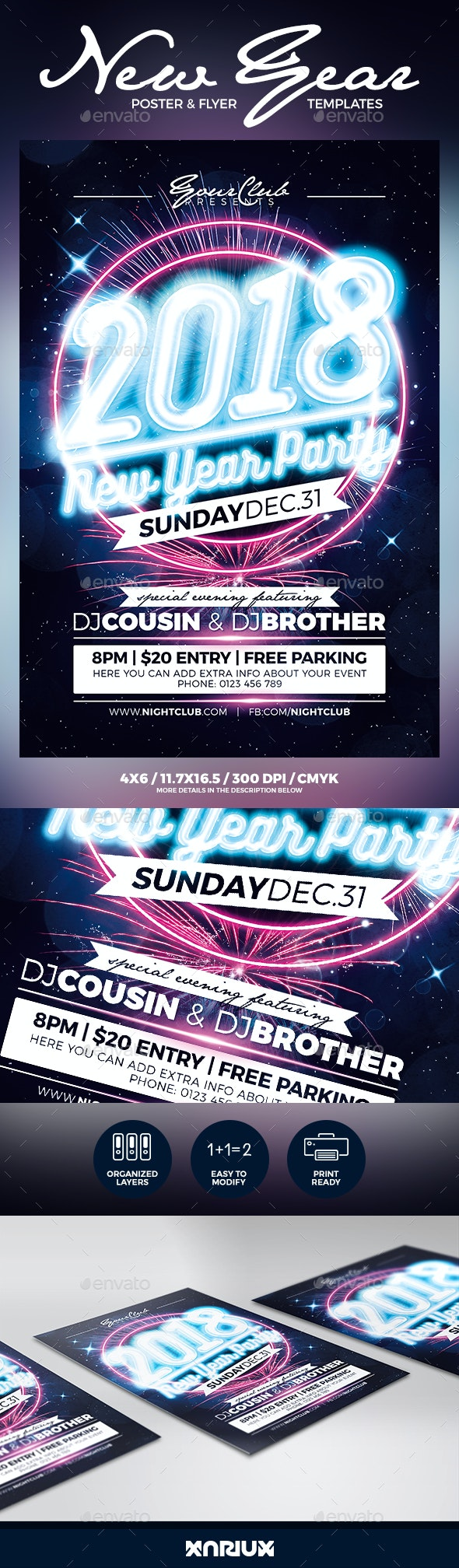 New Year Party Flyer and Poster - Events Flyers