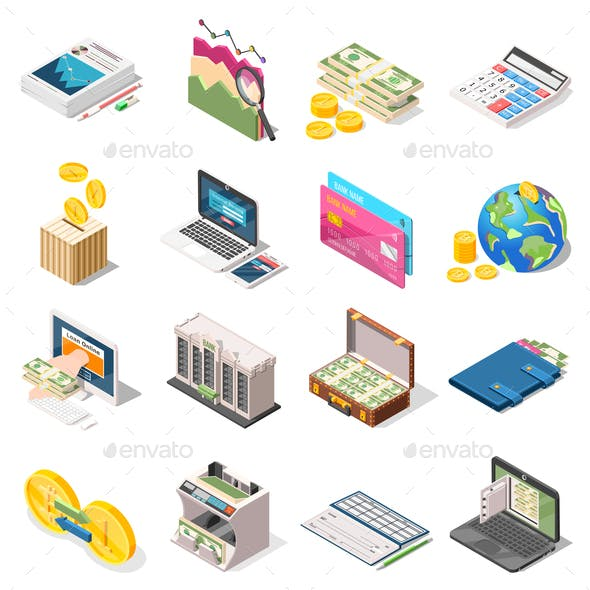 Accounting Isometric Icons Set