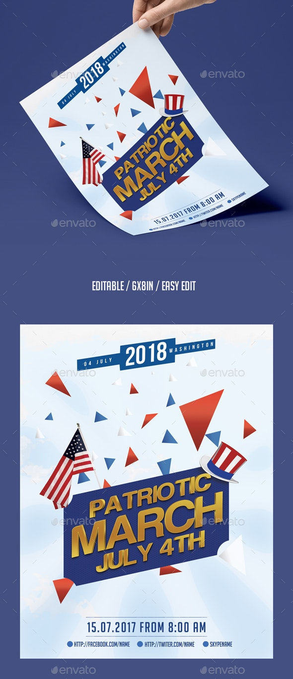 Patriotic March Flyer Template - Events Flyers