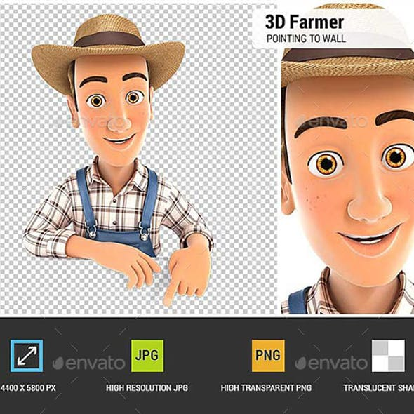 3D Farmer Pointing to Empty Wall