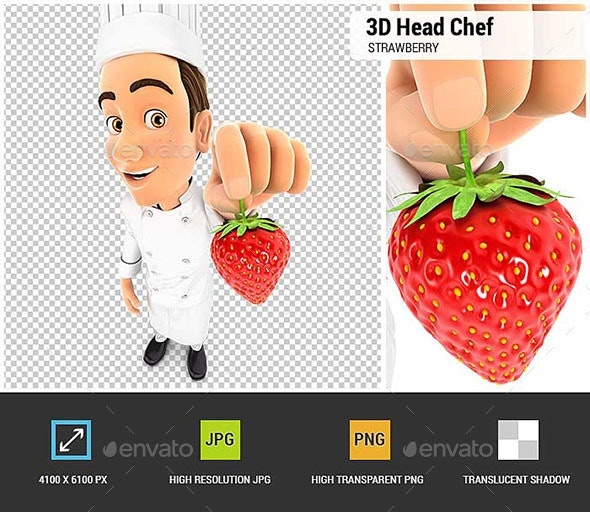 3D Head Chef Holding a Strawberry - Characters 3D Renders
