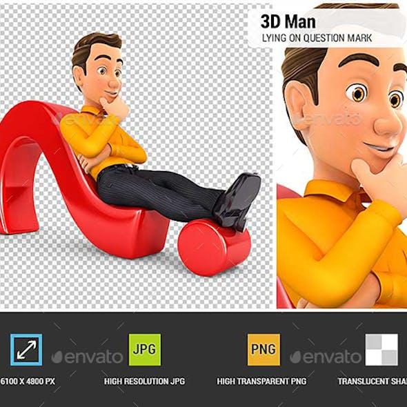 3D Man Lying on Question Mark