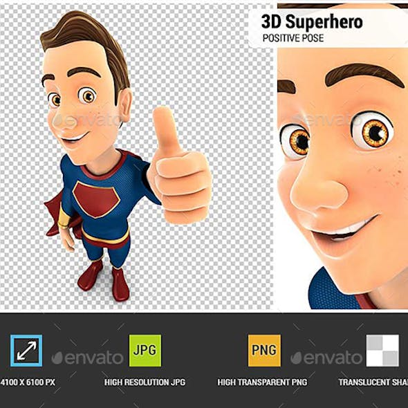 3D Superhero Positive Pose with Thumb Up