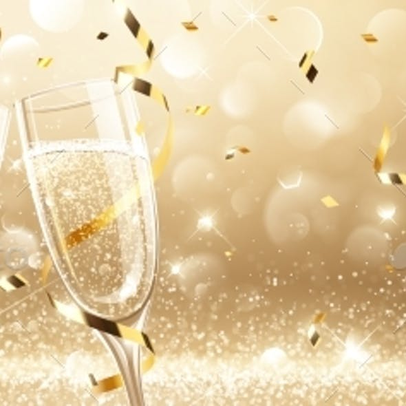 Glasses of Champagne with Confetti