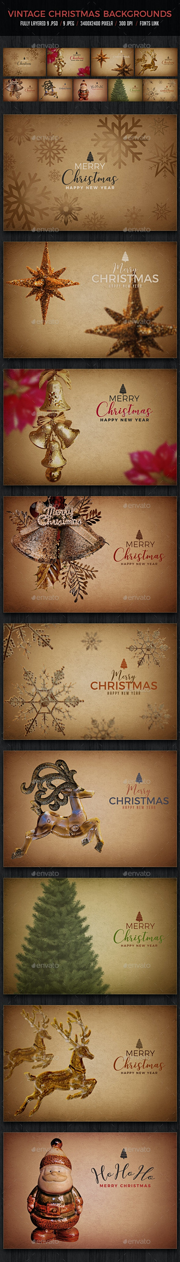Vintage Christmas Backgrounds - Backgrounds Graphics
