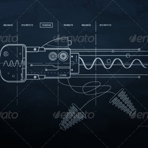 Drawing mechanism on a dark background.