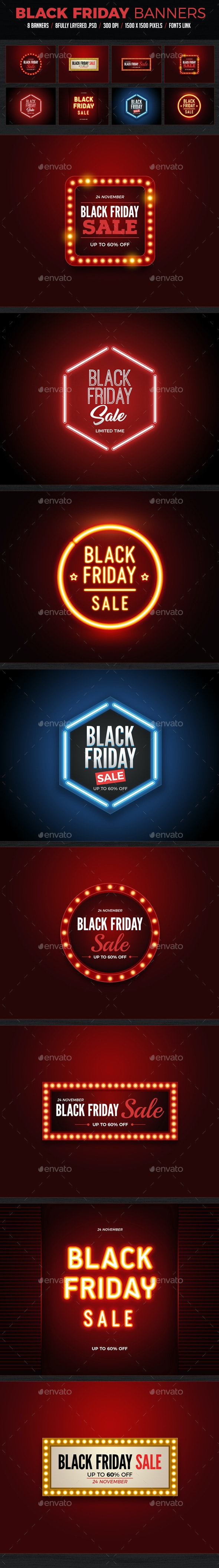 Black Friday Sale Banners - Banners & Ads Web Elements