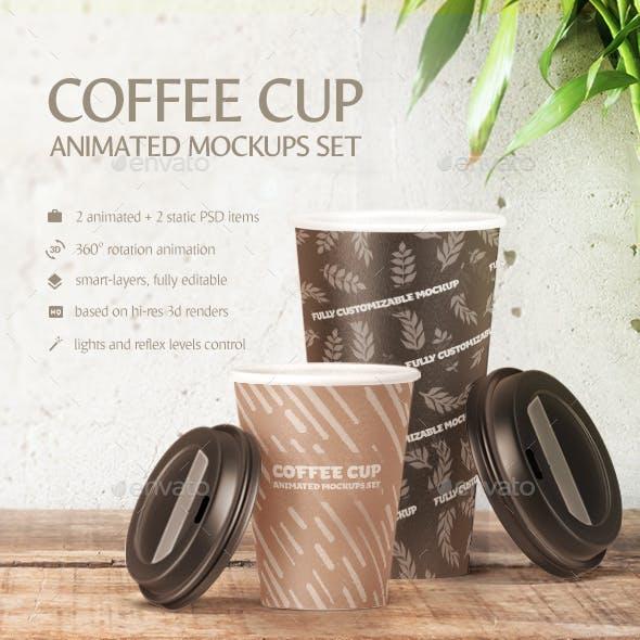 Coffee Cup Animated Mockups Set