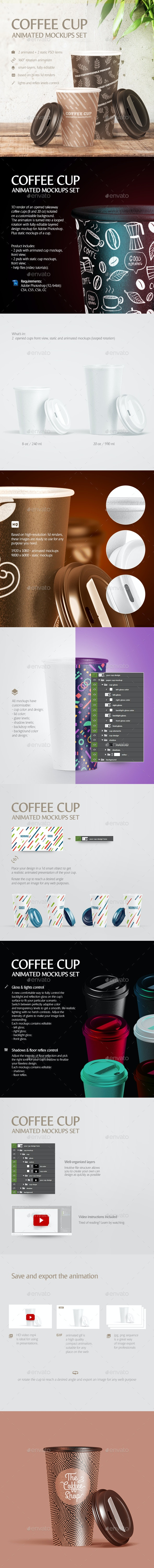 Coffee Cup Animated Mockups Set - Food and Drink Packaging