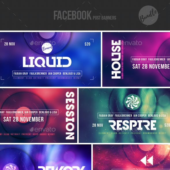 Electronic Music Event Facebook Post Banner Templates Bundle 7