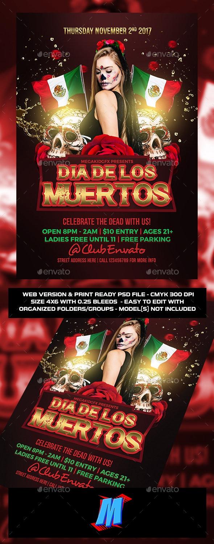 Dia De Los Muertos Flyer Template - Clubs & Parties Events