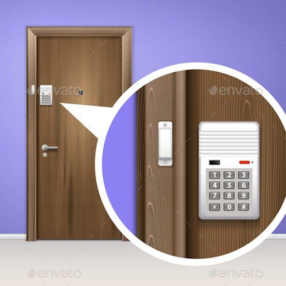 Door Alarm System Realistic Composition