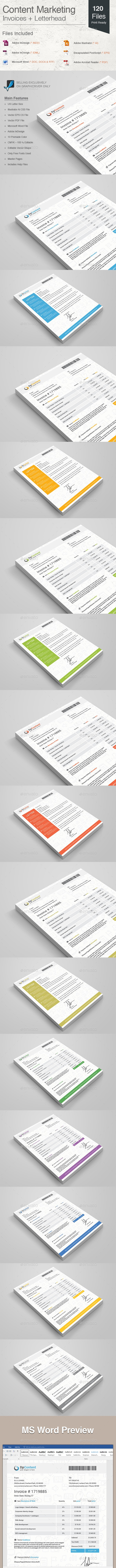 Content Marketing Invoices + Letterhead - Proposals & Invoices Stationery