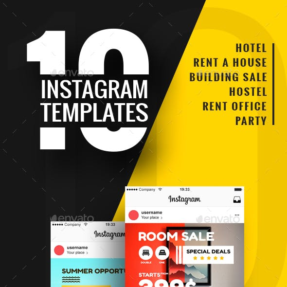 10 Instagram Banner Templates For Rent A House and Hotel