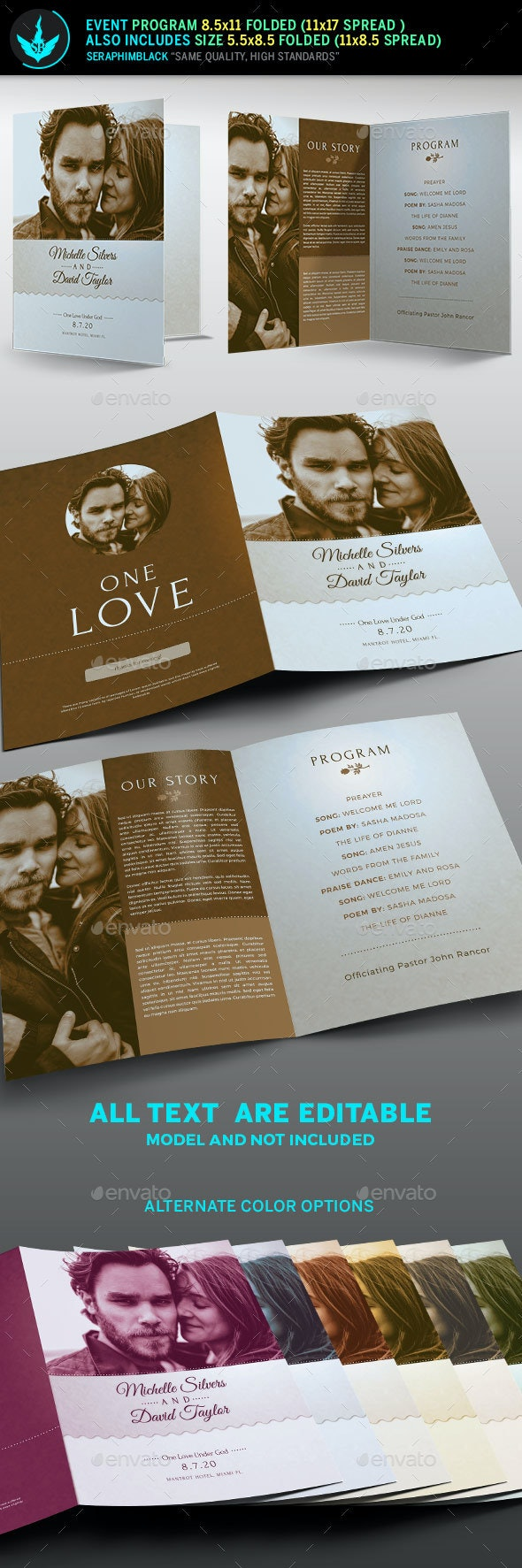 Retro Wedding Program Template - Informational Brochures
