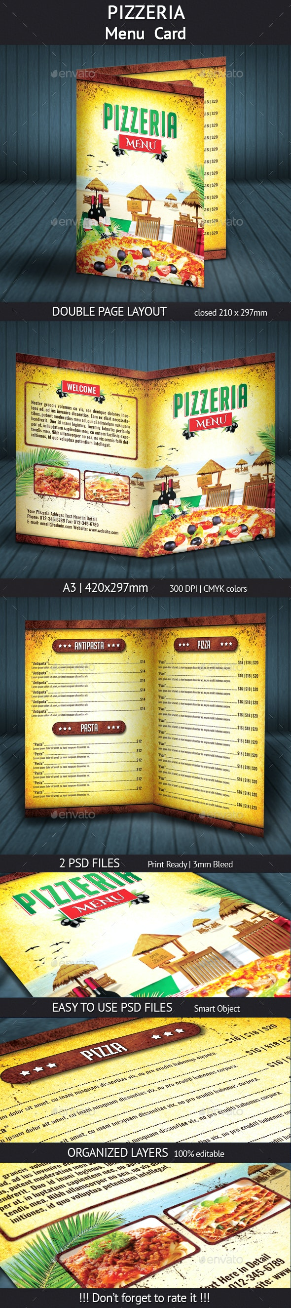 Pizzeria Menu Card (A4)