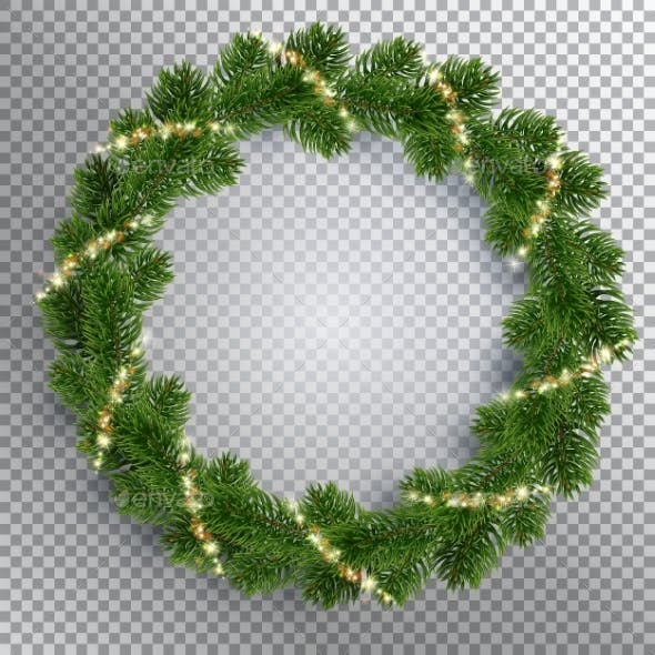 Christmas Fir-Tree Wreath and Glowing Sparks