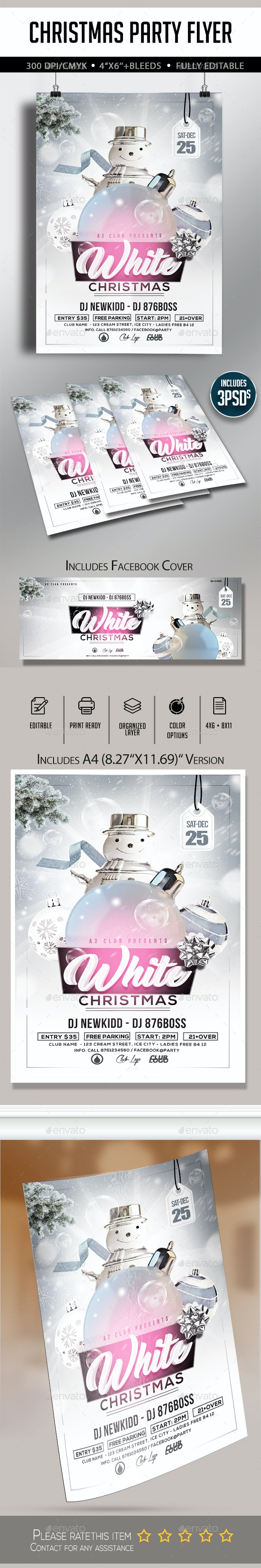 All White Christmas Flyer - Clubs & Parties Events
