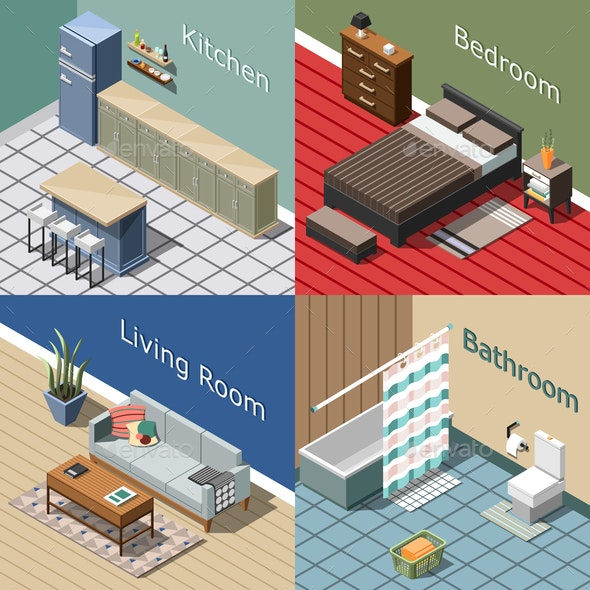Residential Interior Isometric Concept - Buildings Objects