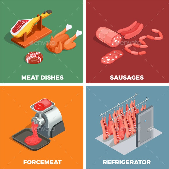 Butcher Shop Isometric Concept - Food Objects