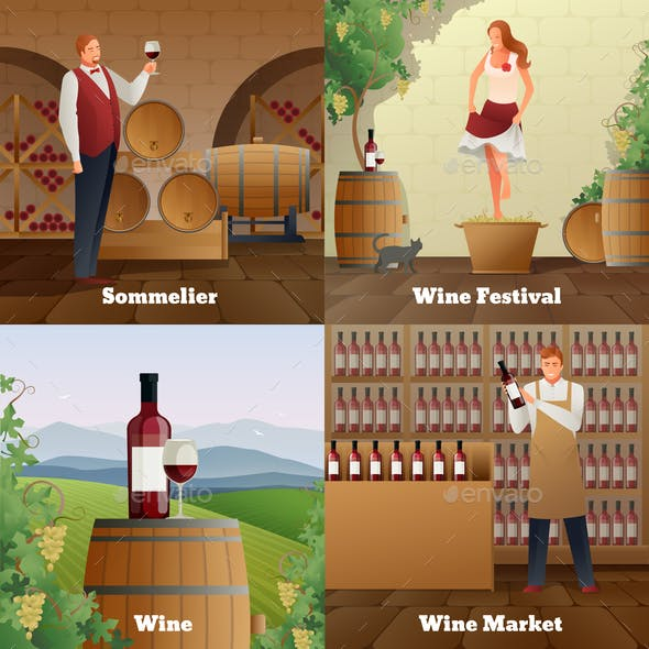 Wine Production Concept Icons Set