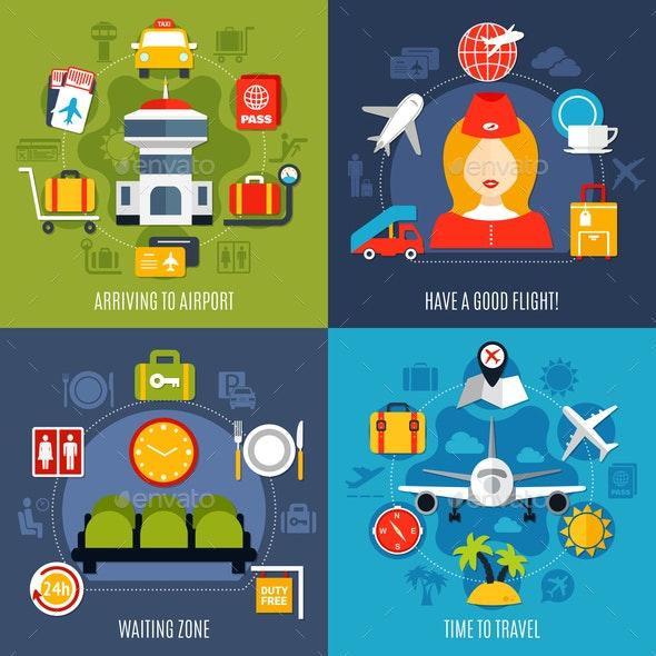 Air Travel 4 Icons Concept - Travel Conceptual