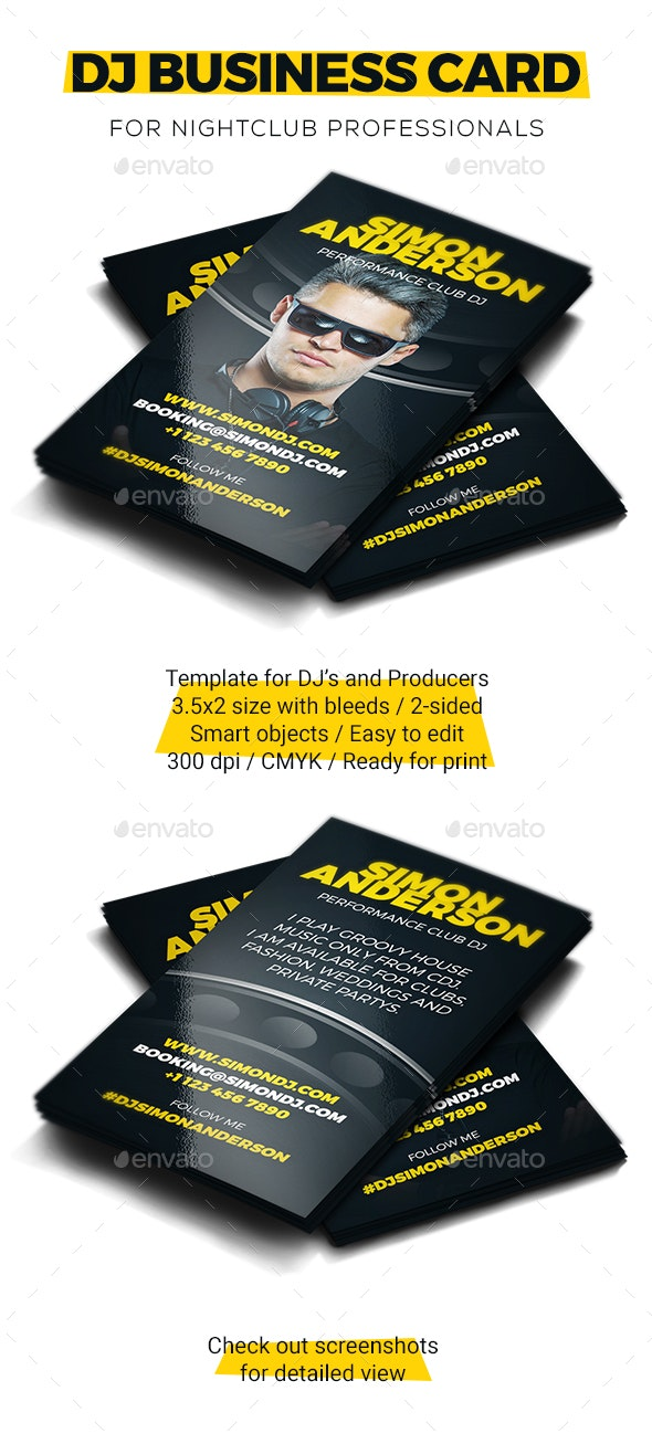 Roll - DJ Business Card PSD Template - Industry Specific Business Cards