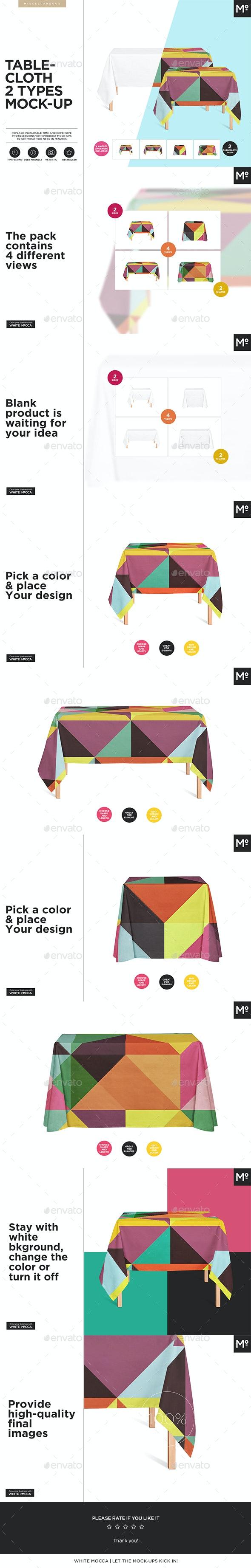 Tablecloth 2 Types Mock-ups Set - Miscellaneous Print