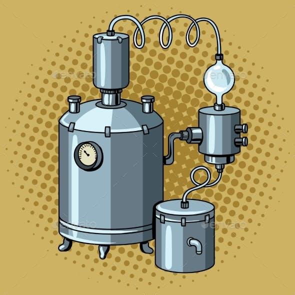 Alcohol Mashine Pop Art Vector Illustration