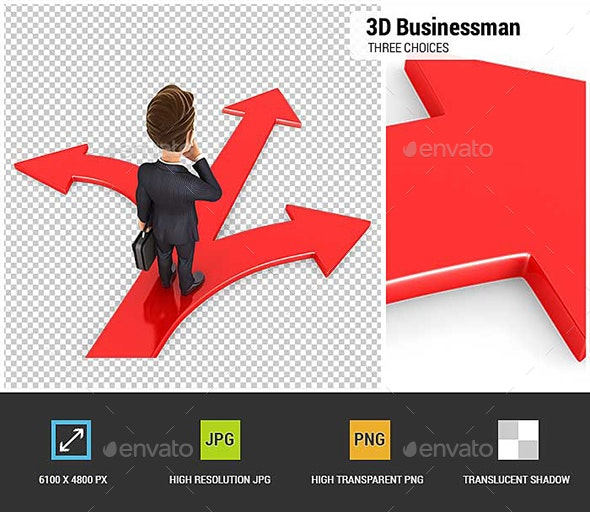 3D Businessman Three Choices - Characters 3D Renders