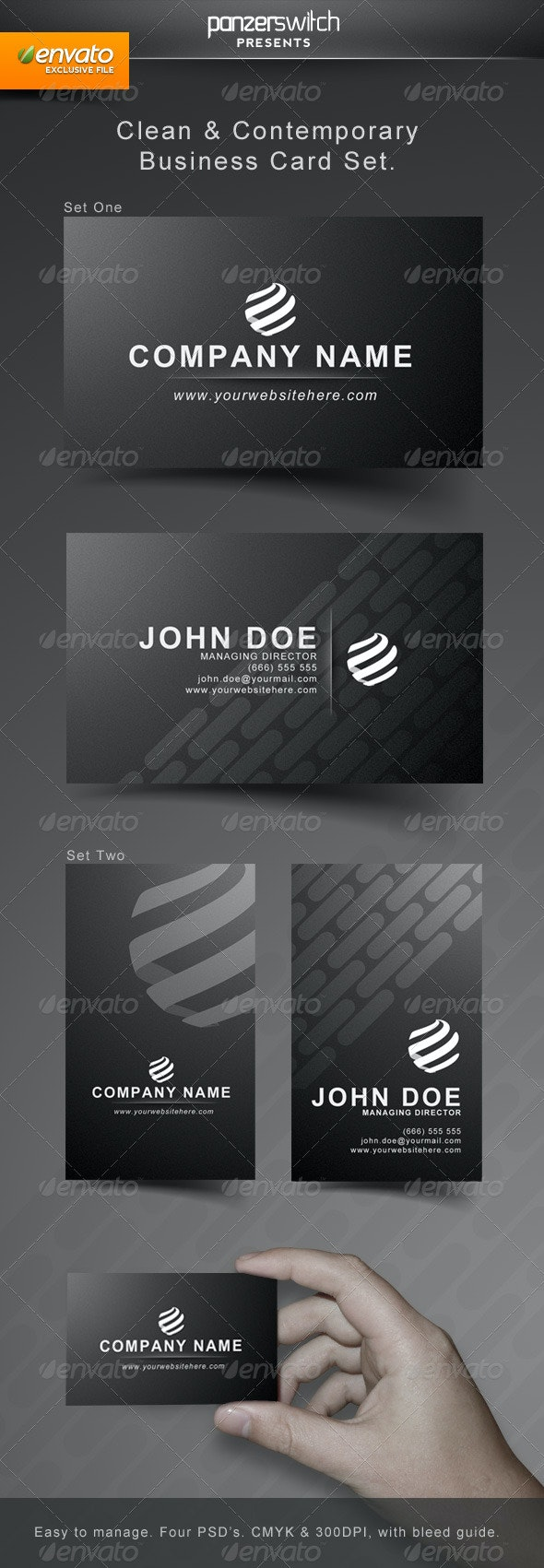 Clean & Modern Business Card Set - Corporate Business Cards