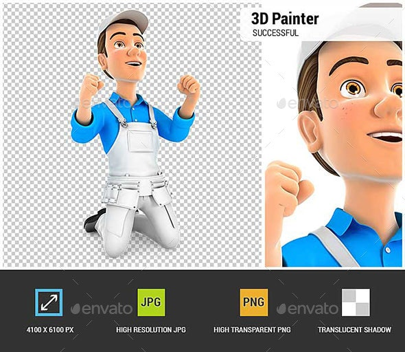 3D Successful Painter on his Knees - Characters 3D Renders