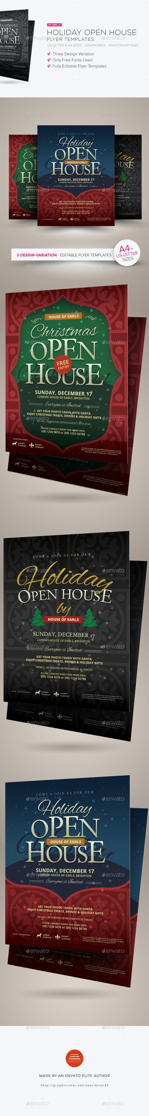 Holiday Open House Flyer Templates - Holidays Events