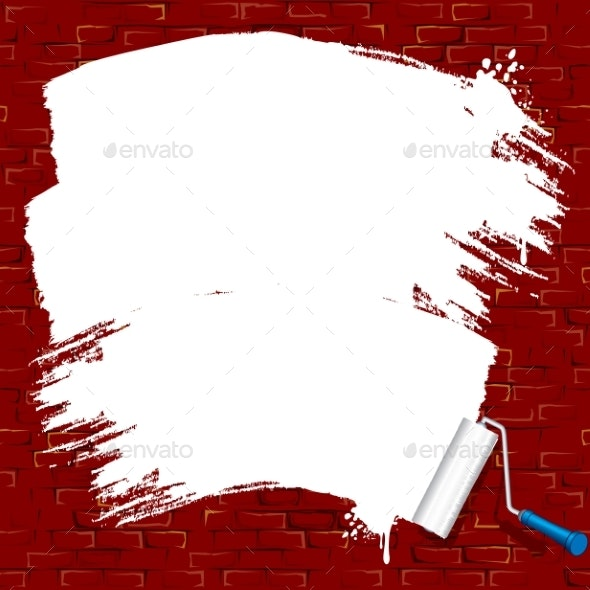 Painting on Brick Wall Roller Brush Vector - Man-made Objects Objects