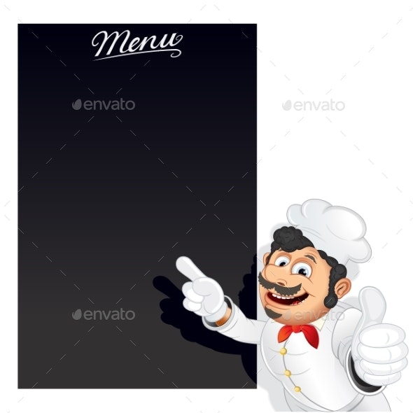 Funny Cartoon Chef with Blank Chalkboard Menu - People Characters