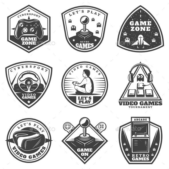 Vintage Monochrome Video Game Labels Set