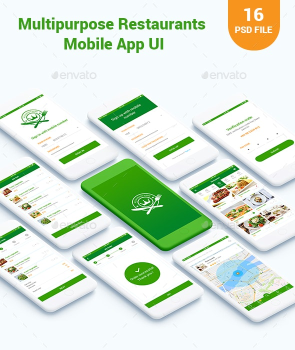 Multipurpose Food/ Restaurants Mobile App UI