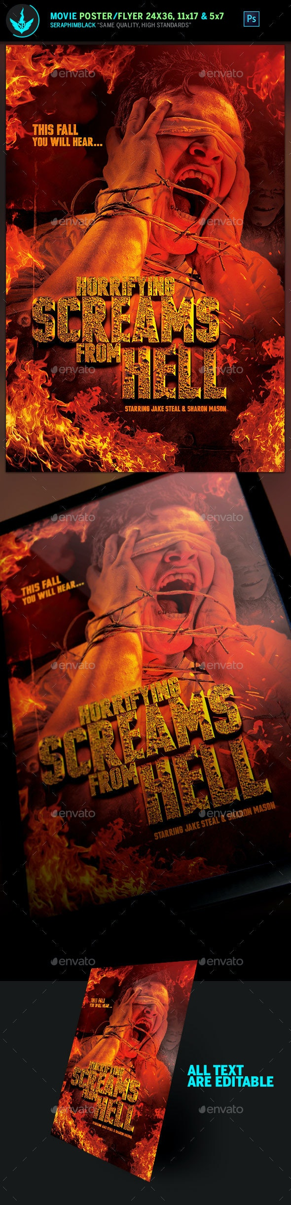 Screams from Hell Movie Poster plus Flyer Template - Church Flyers