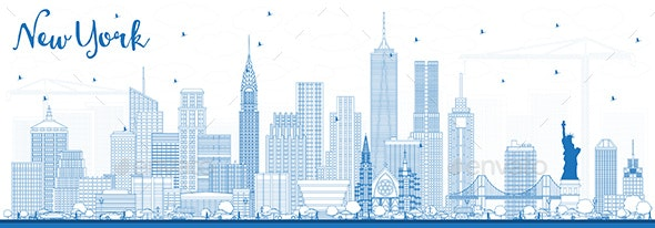 Outline New York USA Skyline with Blue Buildings. - Buildings Objects