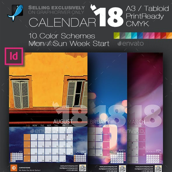 Wall Calendar 2018 with Full Size Photo Background — A3 and Tabloid