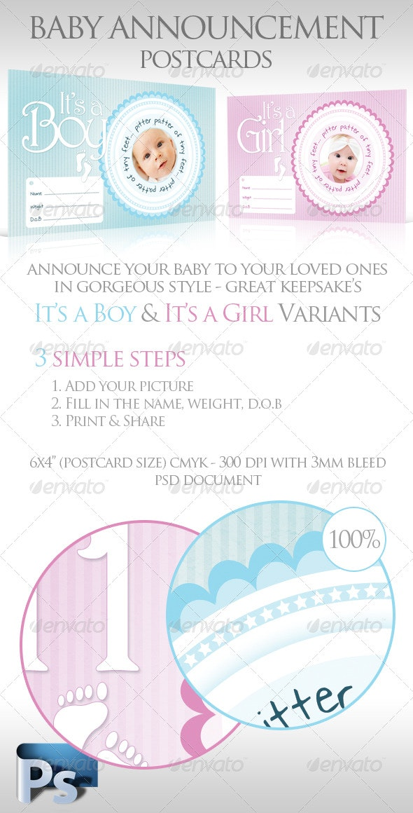 Baby Announcement Postcards - Family Cards & Invites