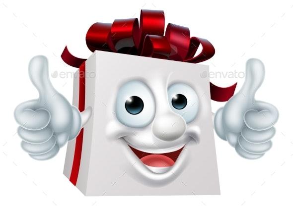 Gift Present Cartoon Character - Christmas Seasons/Holidays