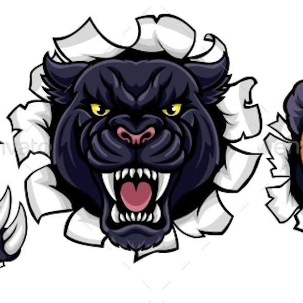 Black Panther Basketball Mascot