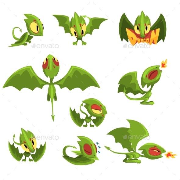 Set of Cartoon Green Baby Dragon Character